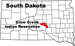 The Crow Creek Indian Reservation Location in South Dakota
